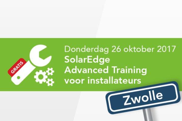 SolarEdge Advanced Training – 26 oktober 2017 –> Training is VOL, inschrijven niet meer mogelijk